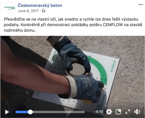 A Českomoravský beton Facebook post reaching 40,154 people