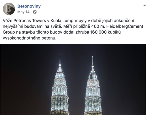 A Betonoviny Facebook post with 1,364 reactions