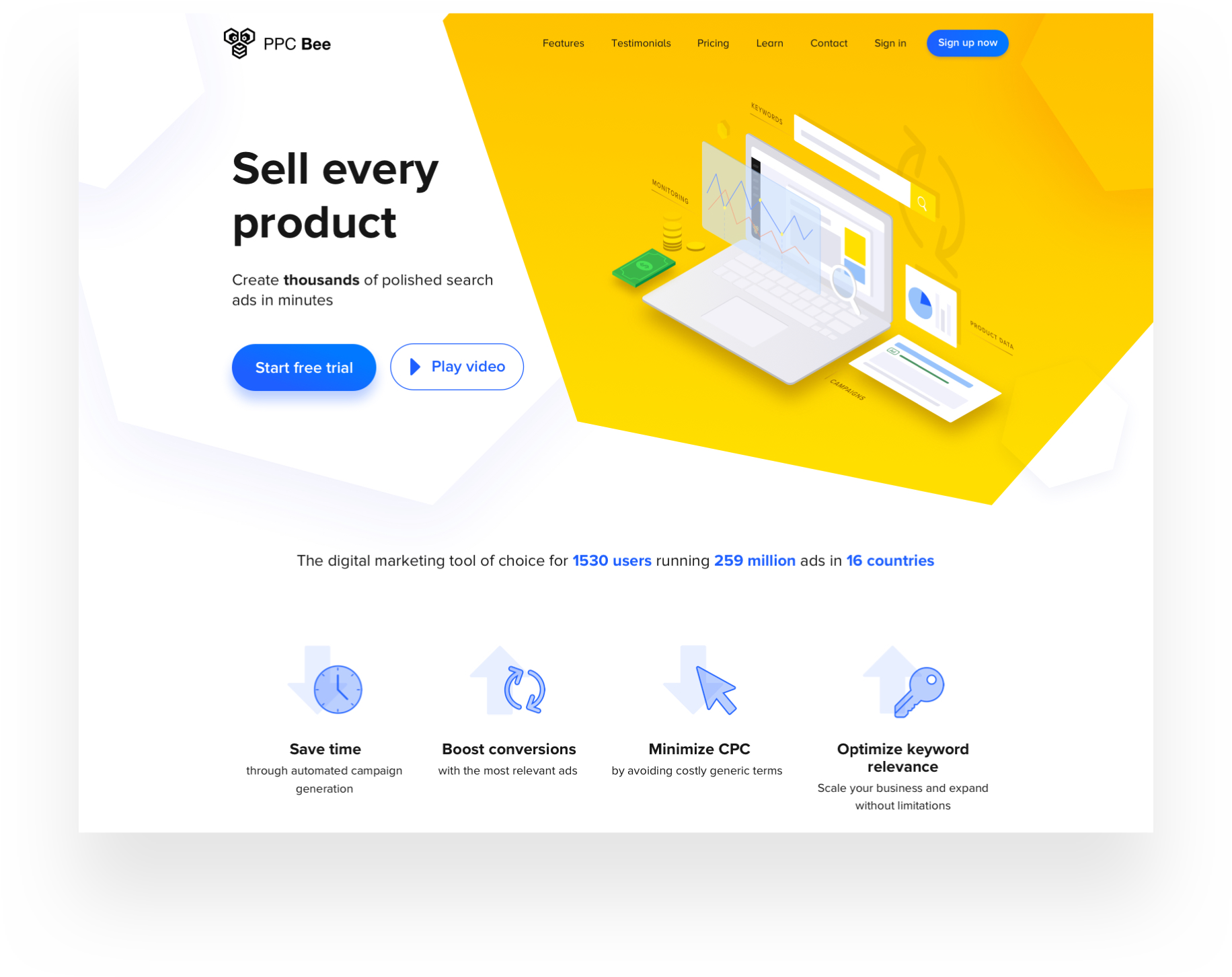 Examples of the new PPC Bee web app and website design